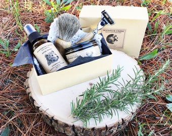 Men's Shaving Kit • Men's Apothecary • Artisan Shaving Tools + Herbal Shaving Cream + Botanical After Shave • Classic Razor & Vintage Razor