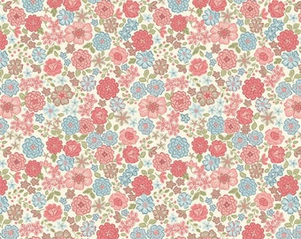 Lewis & Irene Patchwork Quilting Fabric Flo's Little Flowers FLO4.1 Blooms on Cream