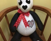 Panda Bear toy stuffed toy Panda gift idea for her gift idea for kids Button bow  appliqu hearts detail. Panda collectors.