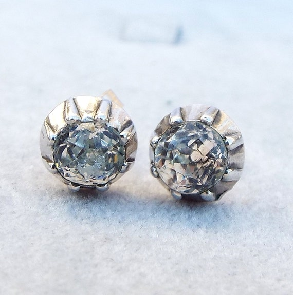 Antique Georgian 18ct Gold and Silver Collet Set Old Cut Paste Stud Earrings