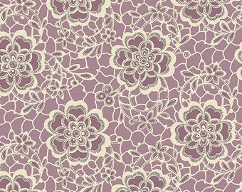 Downton Abbey fabric Kathy Hall Women's Collection Dowager Countess Floral 7319 Purple cream sew quilt craft 100% cotton fabric by the yard