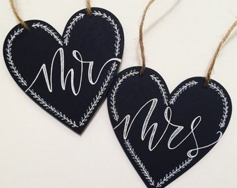 Mr & Mrs Wedding Chair Signs - Wedding Chalkboard - Heart Sign - Handmade Gift