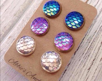 Mermaid Scale Stud Earrings, 3 Pairs, Mermaid Jewelry, Nautical, Beach, Ocean, Summer Jewelry, Siren, Gift, Coast, Kitsch, Mermaid Accessory