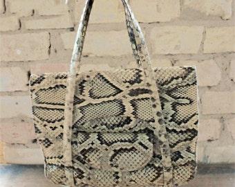 Vintage snake skin handbag, real leather purse, 60s