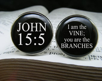 John 15 5 - I am the vine; you are the branches - Cufflinks - Bible Verse - Scripture Quote - Religious gift