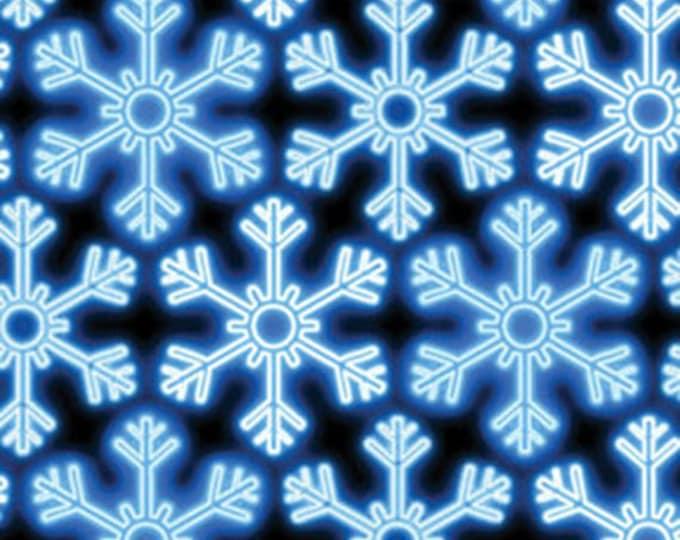 Half Yard Christmas Lights - Snowflake Glow in Blue - Cotton Quilt Fabric - Maria Kalinowski - Benartex Fabrics - 4846-55 (W3491)