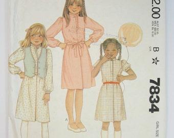 McCall's 7834 Sewing Pattern Girls Size 8 Vest Dress Belt Uncut