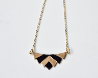Trapezium chevron aztec necklace