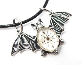Flying Bat Necklace - Goth Bat Pendant - Winged Bat Pendant - Clockworks Bat Necklace - Halloween Bat Necklace - Steampunk Bat Necklace