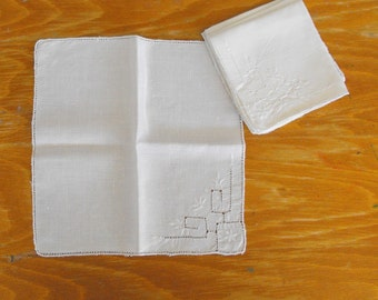 Vintage White Napkins with White Embroidery and Cutwork, Set of Four