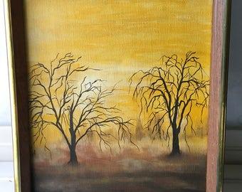 Vintage Retro Acrylic Canvas Painting