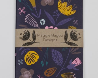 Dark floral notebook A6 size by MaggieMagoo Designs. Designed & printed in the UK.