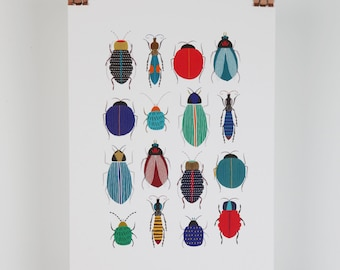 Bugs and beetles botanical giclee illustration A4