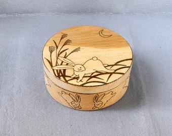 Rabbit and Moon Japanese art inspired woodburned jewelry box pyrography keepsake box