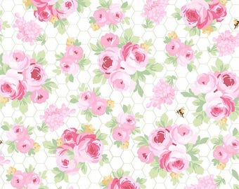 Fidelia Roses on white  Shabby chic roses on white, cottage chic fabric, pink and white floral Free Domestic Shipping for orders over 50.00