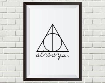 Harry Potter - Always + Deathly Hallows Symbol | Digital Download