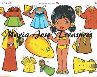 Vintage Spanish Paper Dolls Alicia with marine hat - Digital Download