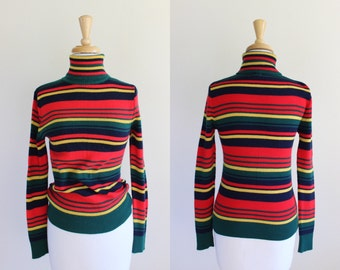 Vintage 1970s Knit Striped Turtleneck