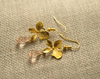 Gold plated earrings Pink quartz faceted crystal glass earrings Gold flower jewelry  Flower charm Wedding jewelry Christmas gift