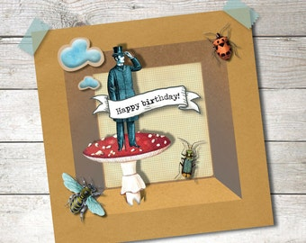 Vintage Circus | Illustrated postcard with envelope | 5x5 inch 14x14 cm | Vintage | Insects | Mushroom| Brown Kraft Paper