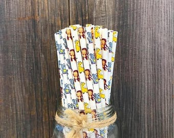 Baby Animal Themed Straws,  75 Animal Straws, Monkey, Giraffe, and Elephant Party Supply, Safari Baby Shower Supplies, Zoo Birthday Party