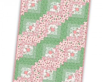 """Berries and Blossoms 12 Block Log Cabin Pre-cut Quilt Kit by Maywood Studio, 29"""" x 39"""" when finished"""