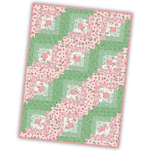 Berries And Blossoms 12 Block Log Cabin Pre Cut Quilt Kit
