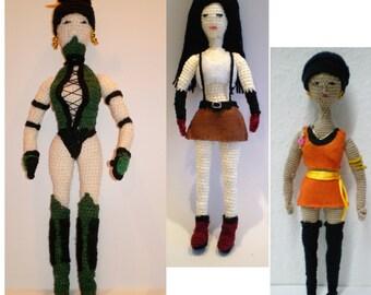 Jade Mortal Kombat, Final Fantasy Tifa Lockhart & Star Trek Uhura crocheted