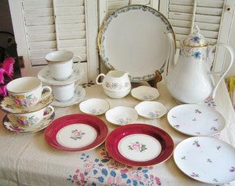 Vintage Mismatched Porcelain Tea Set for 4 Instant Tea Party 20 Pieces Alice in Wonderland Tea Set Roses Luncheon Set Cottage Chic Tea Set