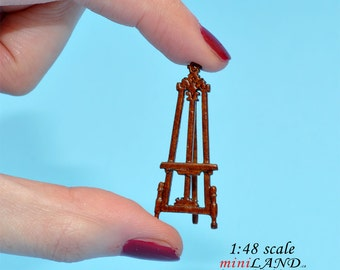 "1:48 1/4"" quarter scale easel picture stand Top quality walnut dollhouse miniature"