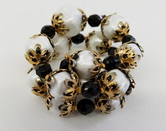 Vintage Bead Cuff Bracelet on Memory Wire  #66