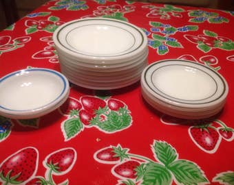 Vintage set of 15 Pyrex milk glass tableware dishes and bowls