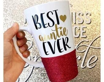 Best Auntie Ever Glitter Mug // Auntie Glitter Mug // Best Aunt Mug // Valentines Day Auntie Coffee Mug // Best Aunt Mug