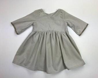Ash Organic Cotton Bohemian dress / Fall Dress/ Gardenia dress/ Girls Organic dress