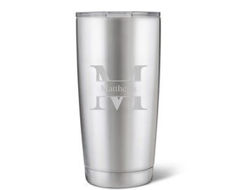Personalized 20oz. Stainless Steel Double Wall Insulated Tumbler - Personalized Travel Tumbler - Monogram Tumbler - Groomsmen Gifts - GC1521