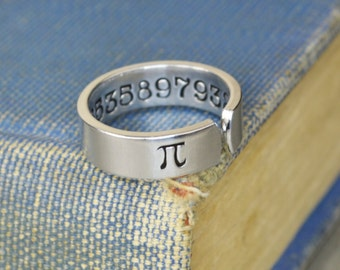 Pi Ring - Hand Stamped Math or Science Teacher Gift