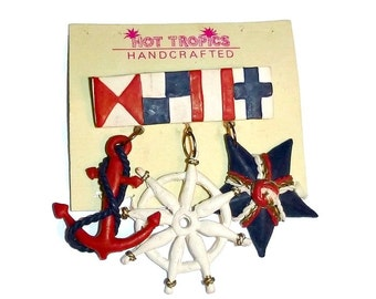 Vintage NAUTICAL Brooch NOS Mid Century ANCHOR Ships Wheel Star Red Navy Pin Broach 1960s Mod Sailor Fashion Patriotic Jewelry Sailing Gift