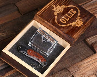 Set of 8 Personalized Engraved Monogrammed Pocket Knife, Shot Glass and Wood Box Groomsmen, Father's Day Gift For Men