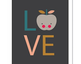 Love Print (Dark background.) Love Typographic Print, Kids art, Nursery Art, Nursery Decor, Apple print, Modern Nursery Art.