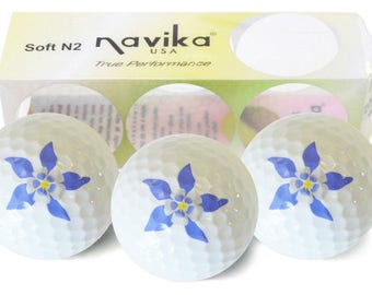 White Golf Balls with Columbine Flower Imprint