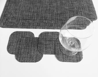 set of 4 multitone gray woven vinyl placemats with 4 matching coasters kitchen for