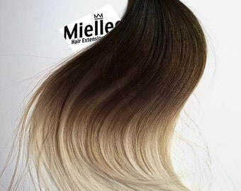 High Contrast Neutral Ombre Tape In Hair Extensions  | Silky Straight Natural Human Hair | Seamless Tape Tabs | 20, 40, 60 & 80 Piece Sets