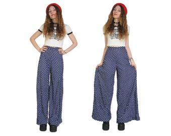70s Wide Leg Glam Rock Bells - 27 Waist - High Waisted Pants - David Bowie - Rock and Roll - Hippie Boho - 70s Vintage Pants