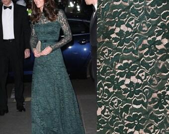 Kate Middleton Deep Green evening dress/ Wedding Gown/ Temperly London inspired/ Boho wedding dress/ Custom made dress/ Premium Lace fabric