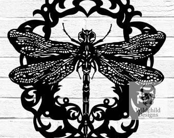 Cameo Dragonfly Paper Cutting Template, SVG, JPEG, Vinyl Template, Personal & Commercial Use, Gothic Silhouette, Wildchild Designs, Insect