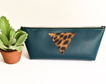 The Long & Skinny - Emerald Green Vegan Leather Clutch with Zipper and Leopard Patch
