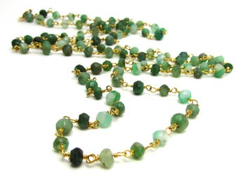 Long chrysoprase necklace   Emerald green gemstone jewelry   Gold bohemian jewelry   May birthstone   Long necklace