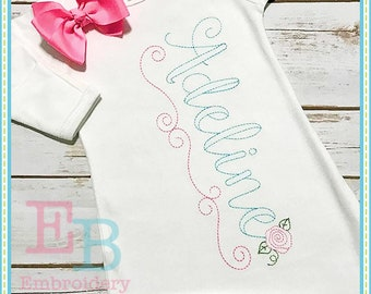 Vintage Ballerina Alphabet - This design is to be used on an embroidery machine. Instant Download