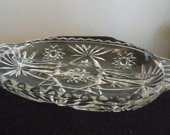 2 Sided Clear Pressed Glass Relish Tray