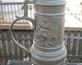 German Pewter Beer Stein, Bacernerlund Munchen Maker's Mark, Pewter Beer Stein, Possible 1900's, 10 1/2 Inches High, Embossed Scenes